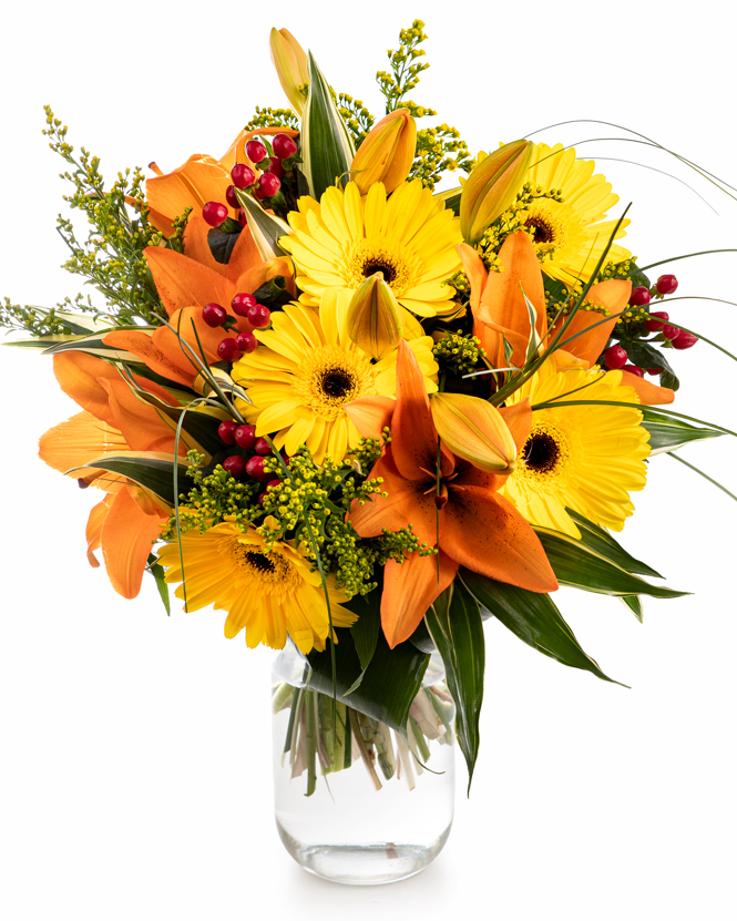 Yellow gerbera and orange lilies bouquet