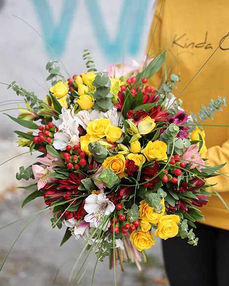 Bouquet with alstroemeria and yellow roses