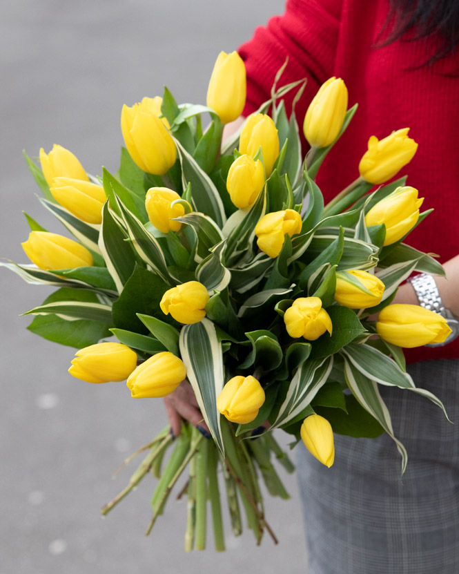 Bouquet with yellow tulips