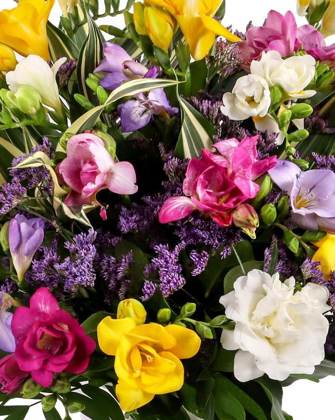 Bouquet with colorful freesias