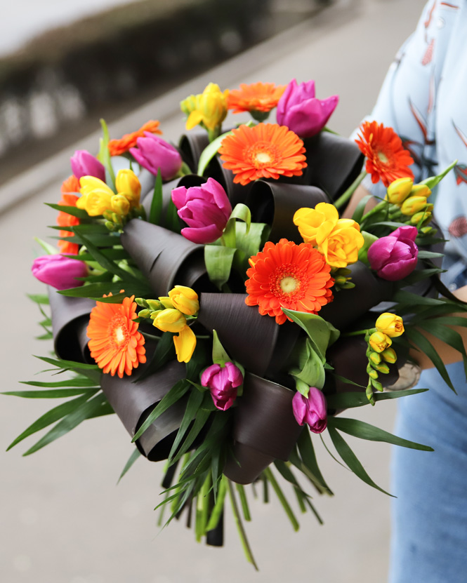 Bouquet of fresias tulips and gerberas