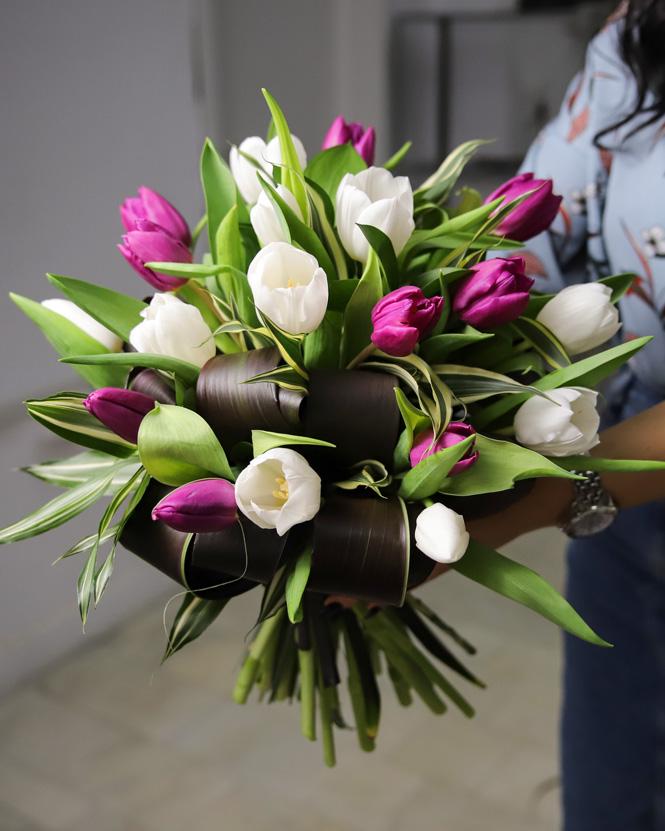 Purple and white tulip bouquet