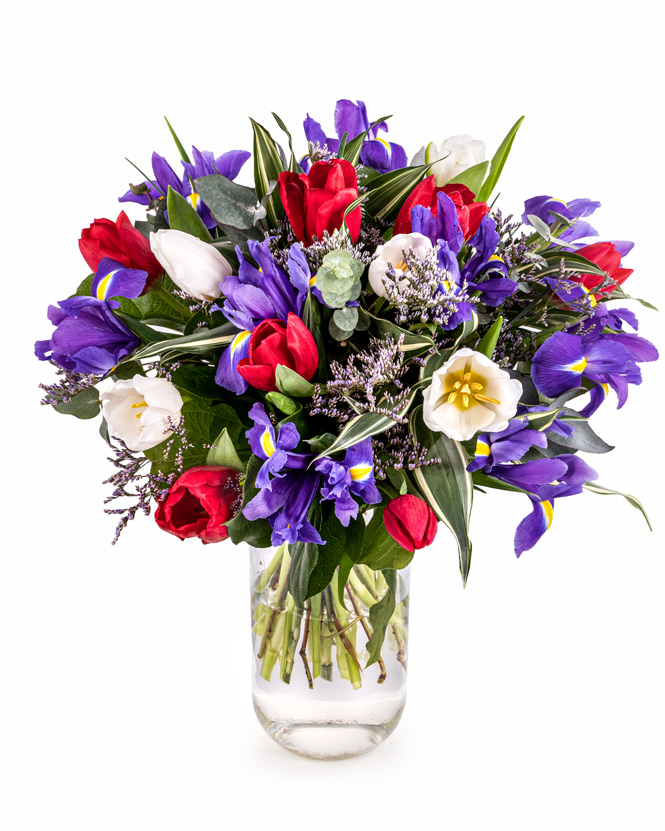 Bouquet of tulips and irises
