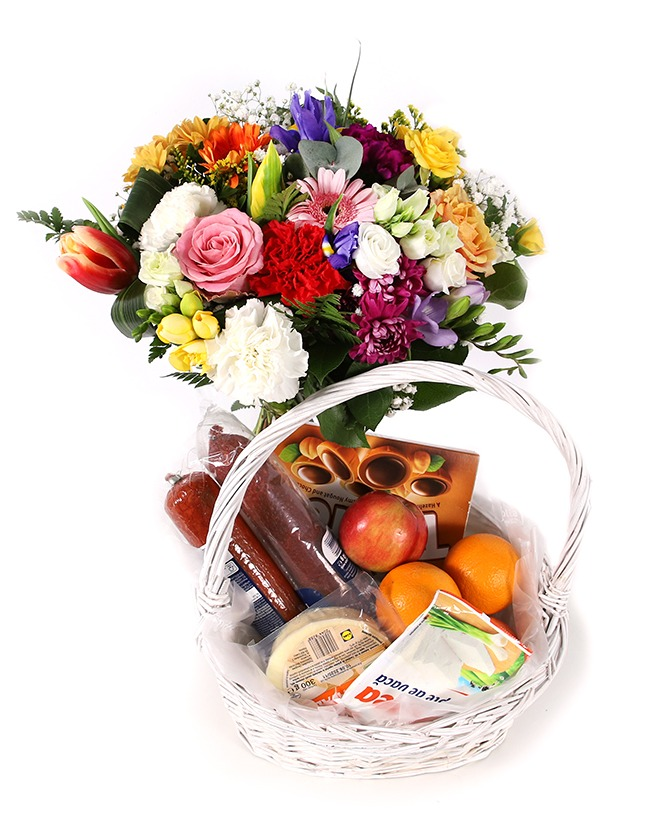 Gift basket and colorful bouquet