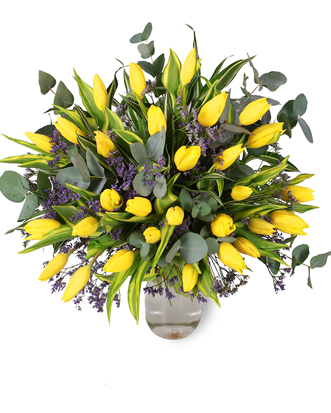 Cheerful bouquet with yellow tulips