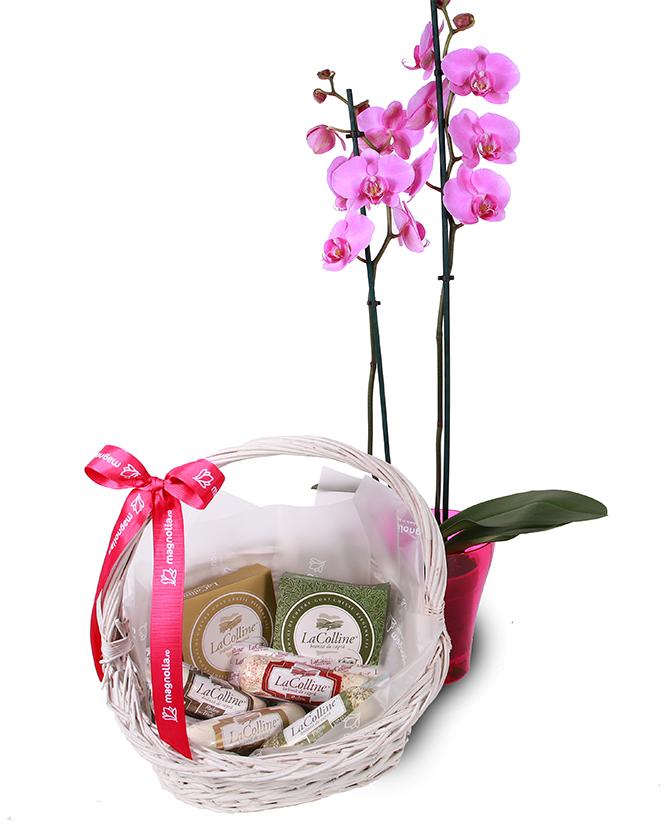 Coș cu brânzeturi și orhidee Phalaenopsis
