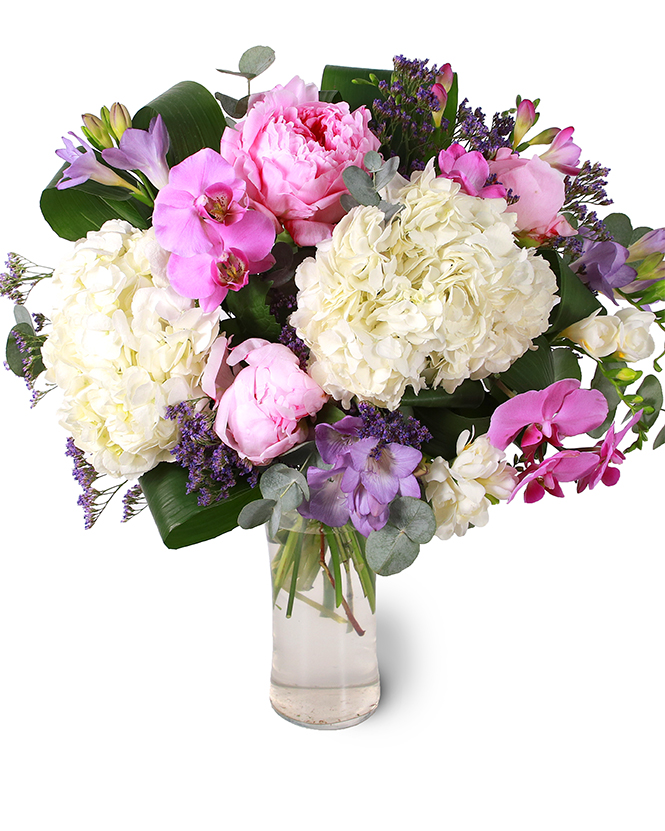 Bouquet of hydrangea, orchids and peonies