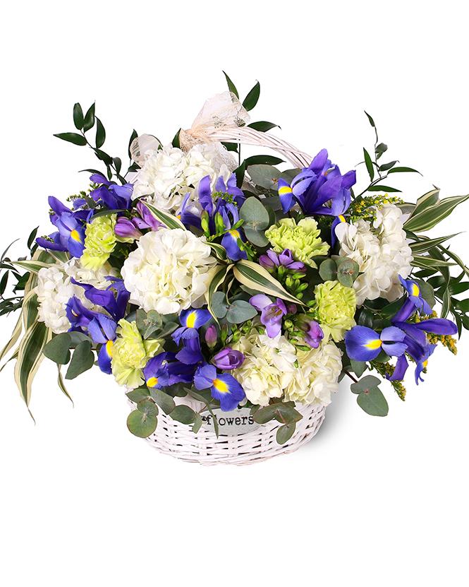Hydrangea and iris basket