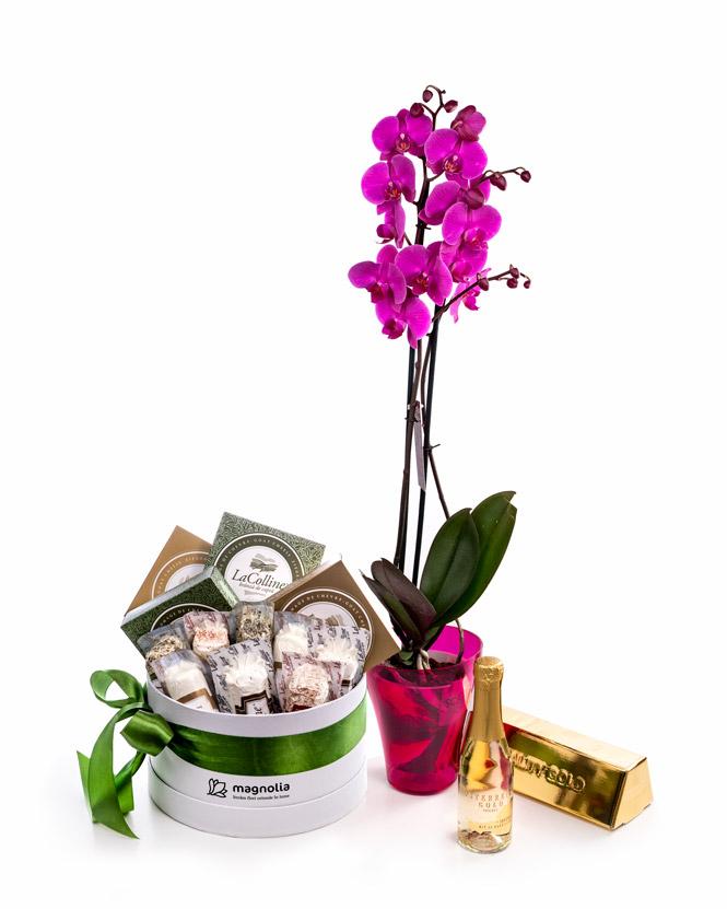 Orhidee Phalaenopsis și cutie cu brânzeturi