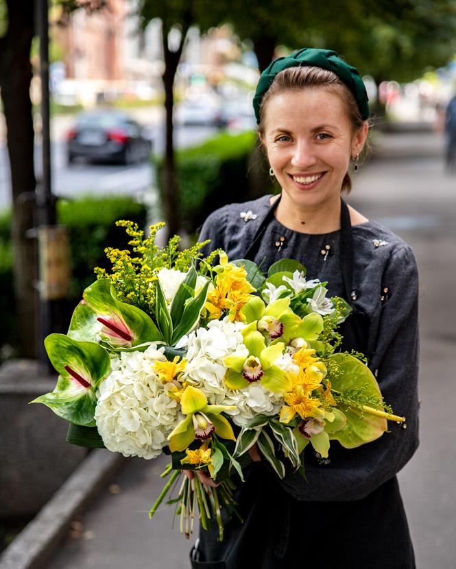 Cymbidium and Hydrangea bouquet