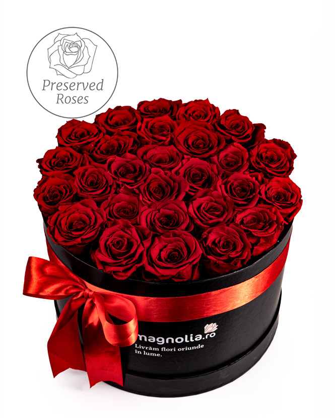 Preserved red roses in a black box