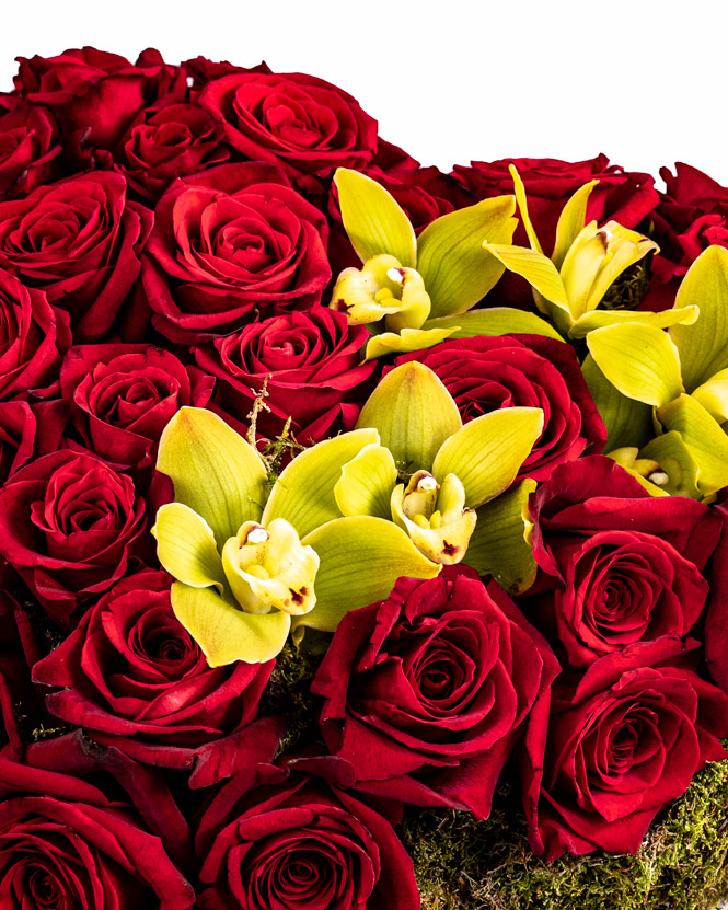Rose and Cymbidium heart arrangement