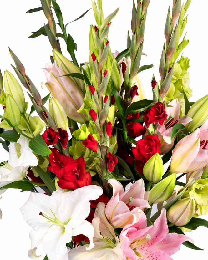 Buchet cu gladiole și crini