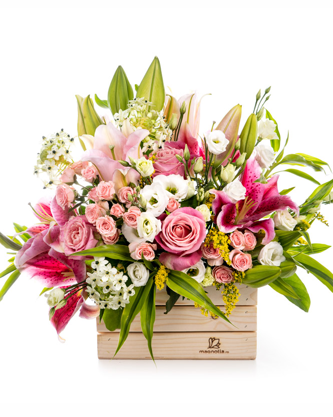 Wooden box with pink flowers