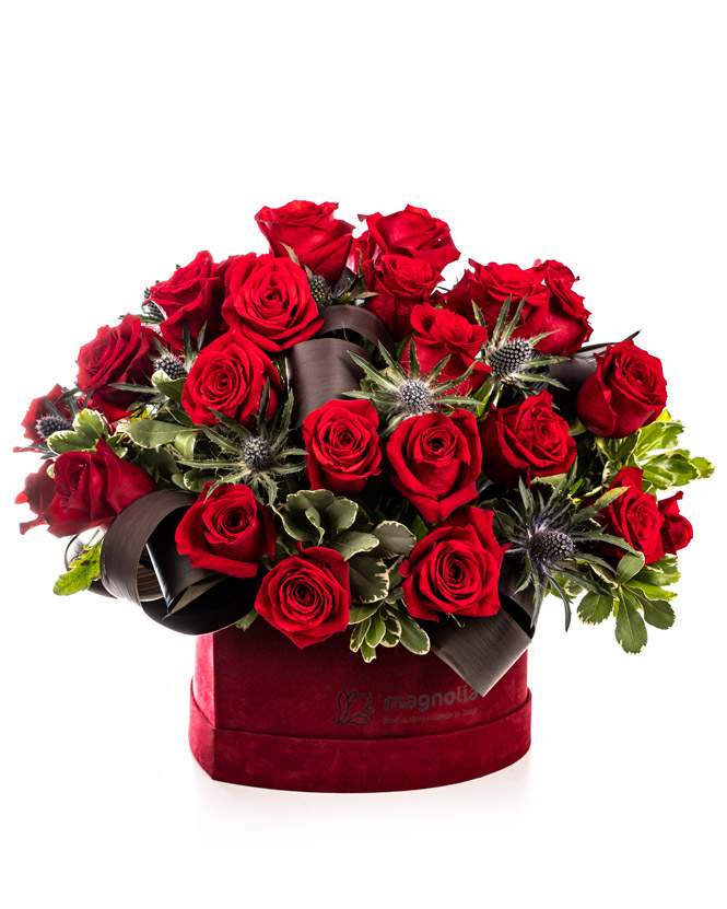 Heart shaped arrangement with red roses