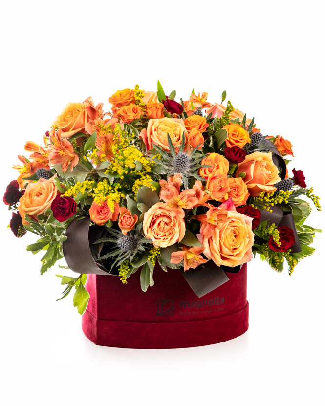 Heart box with orange roses