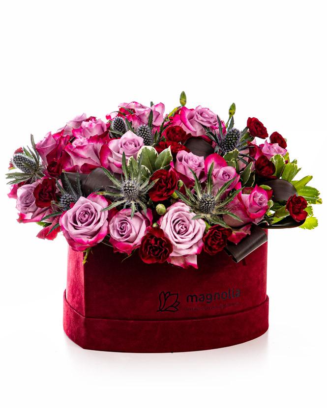 Trandafiri mov în cutie inimă