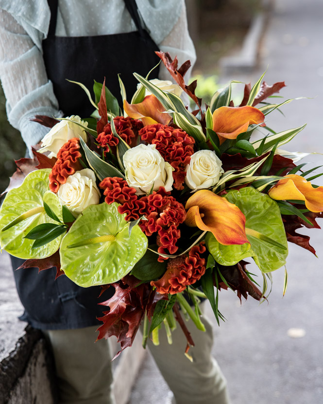 Bouquet with rusty leaves