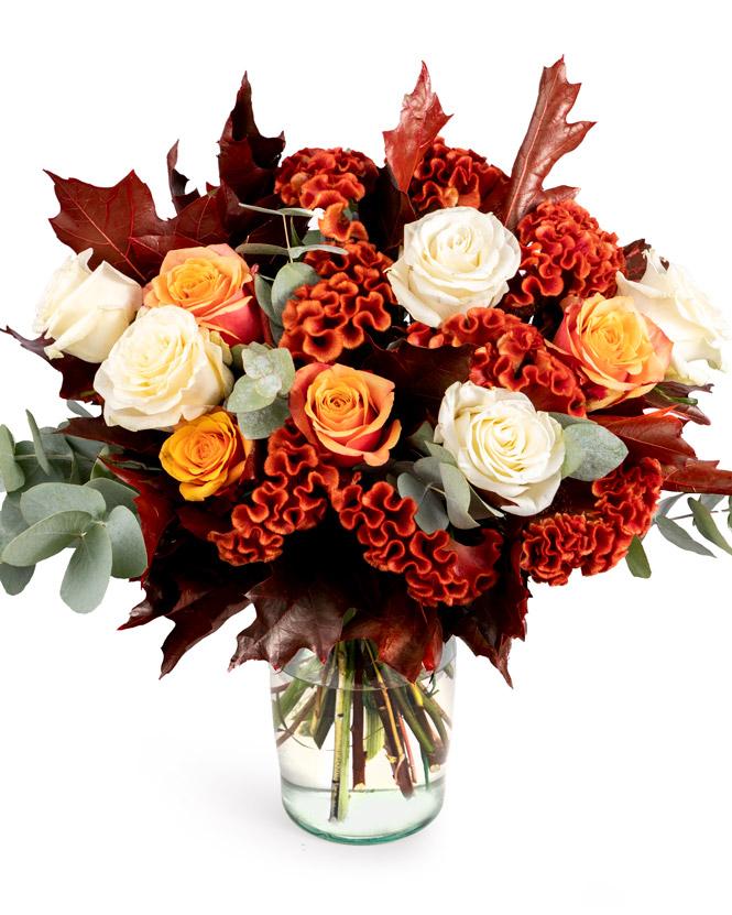 Buchet de toamnă cu trandafiri