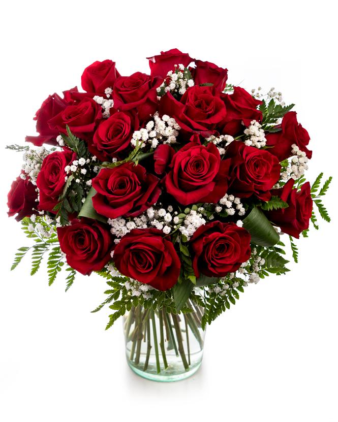 Buchet cu trandafiri si gypsophila