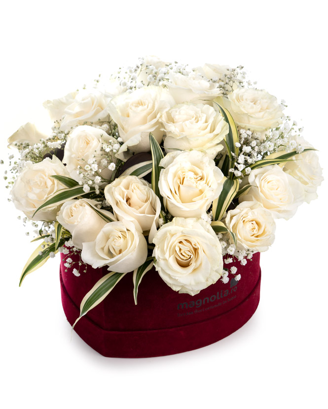 White roses in heart box
