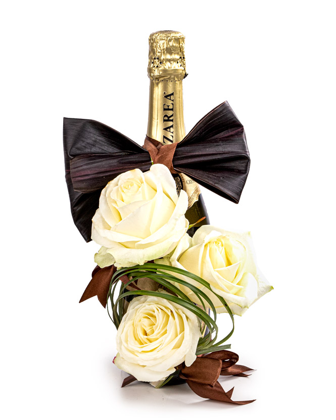 Floral arrangement with bow tie