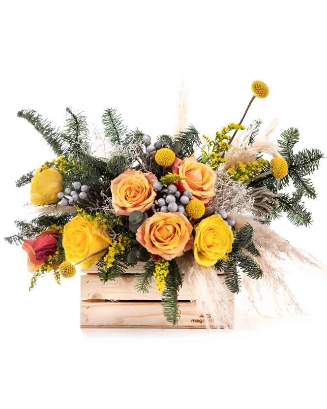 """Bright winter"" arrangement"