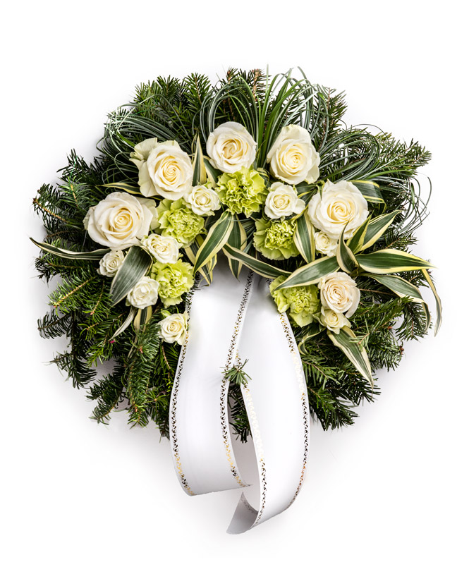 Funeral wreath with carnations and roses