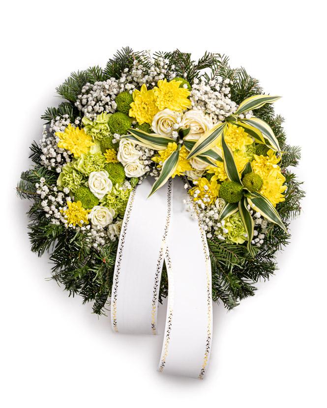 Jerbă funerară cu crizanteme și garoafe