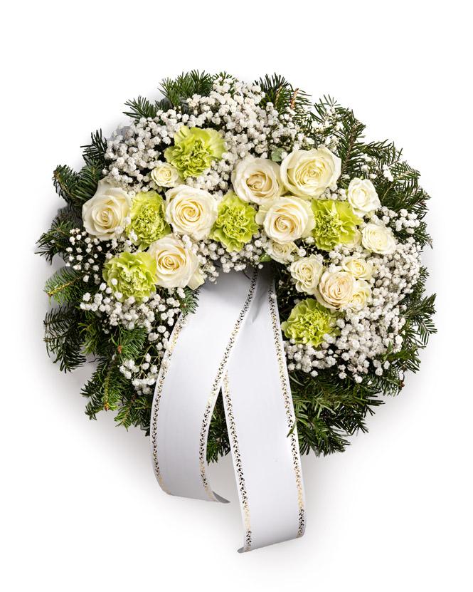 Jerbă funerară cu trandafiri albi și garoafe
