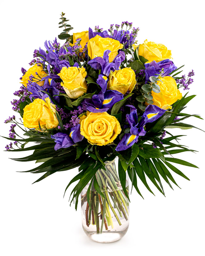 Bouquet with roses and irises