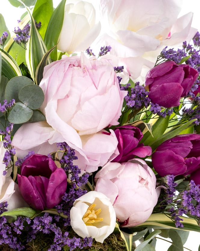 Peony and tulip arrangement