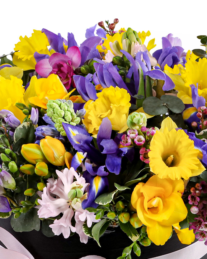 Spring box with perfumed flowers