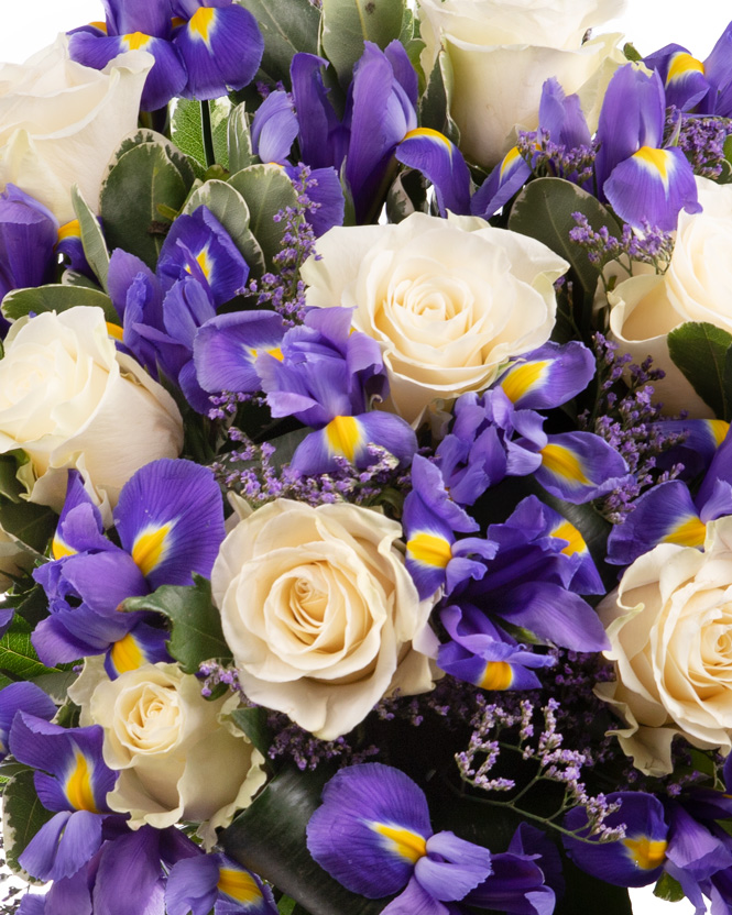 Bouquet with white roses and irises