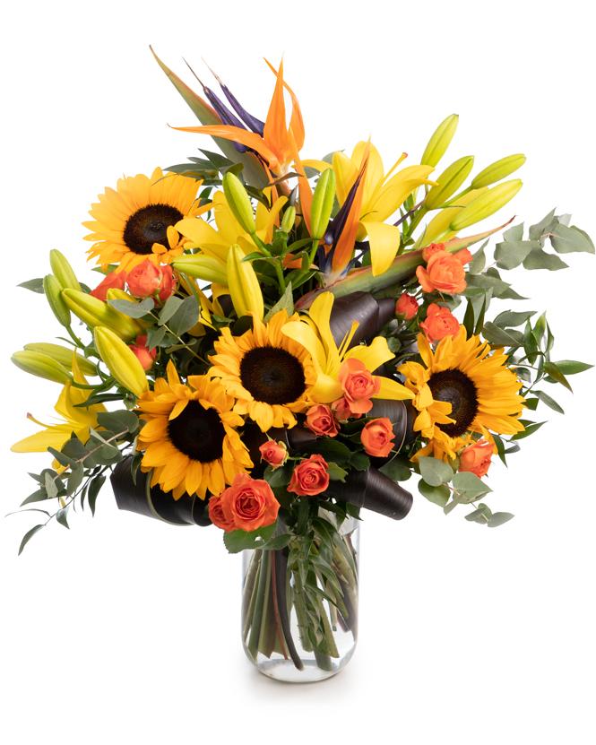 Sunflower and strelitzia bouquet