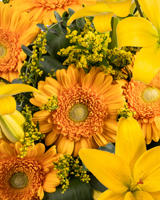 Bouquet with yellow lilies and gerbera