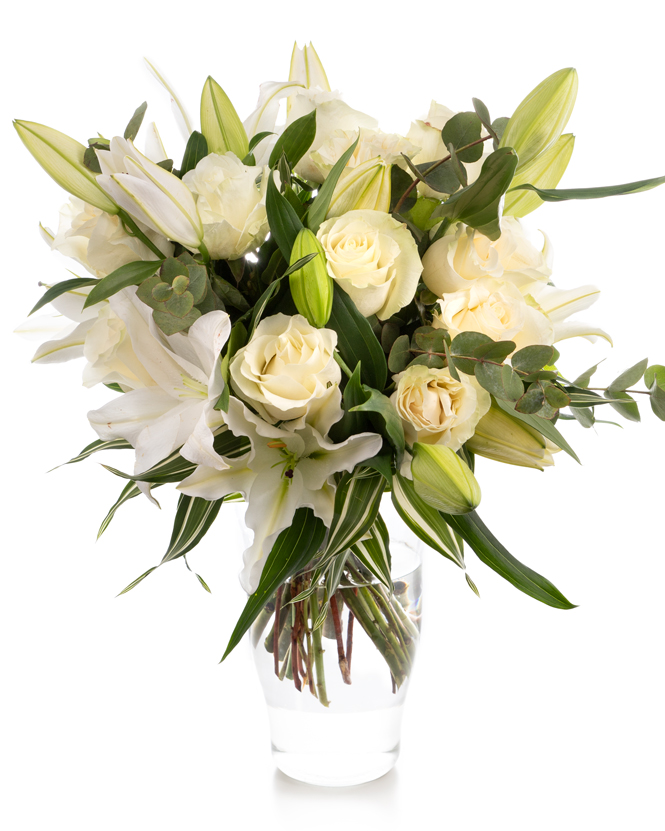 Bouquet of white roses and imperial lilies