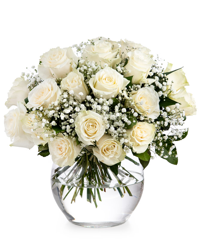 Bouquet of white roses and gypsophila