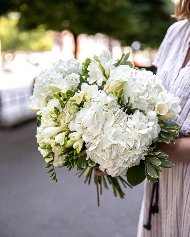 Hydrangea and freesia bouquet