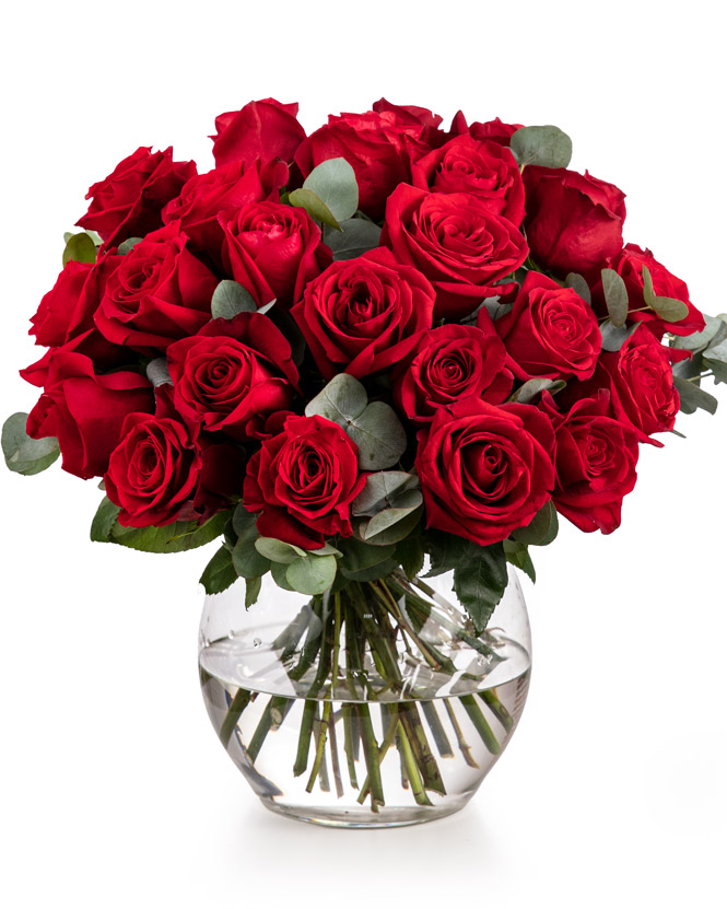 Bouquet with red roses and eucalyptus