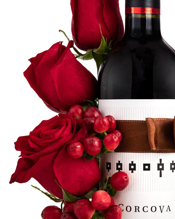 Floral arrangement on a wine bottle