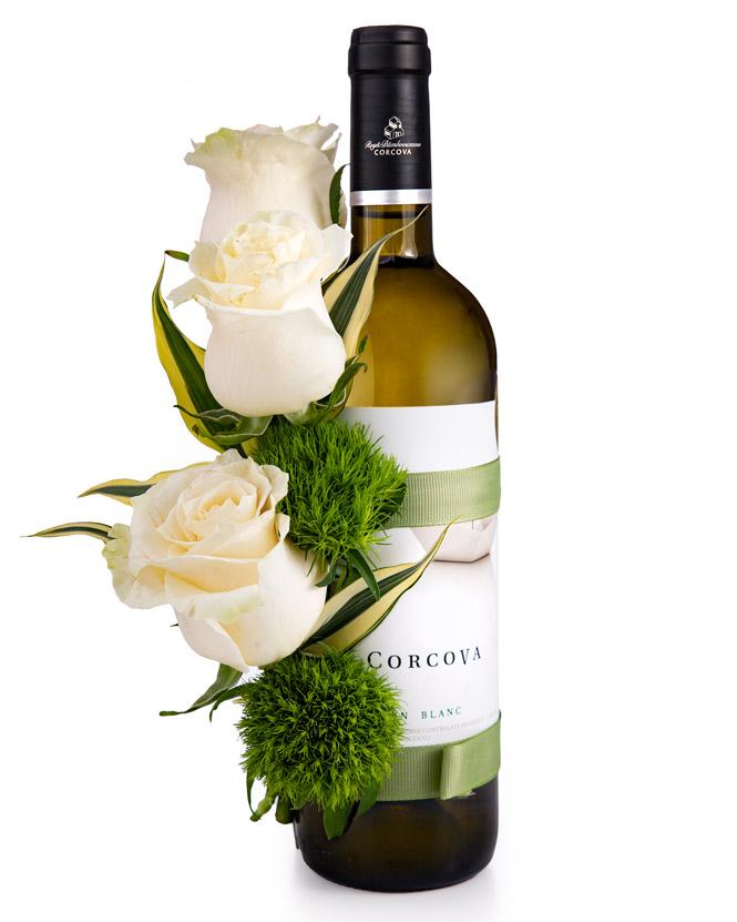 Floral arrangement on a bottle