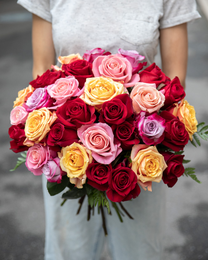 Bouquet with multicolored roses