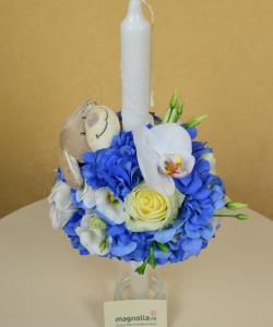 Lumânări de botez şi de cununie ornate cu flori, brăţări din flori, ghirlande de flori, coroniţe