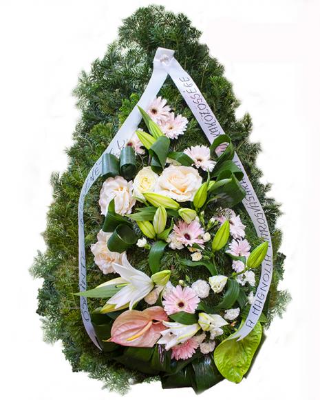 Aranjament funerar crini şi trandafiri