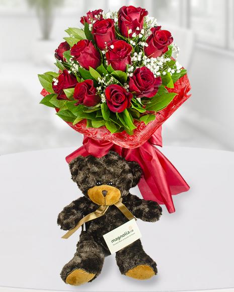 Buchet 11 trandafiri roșii și ursuleț poza 2