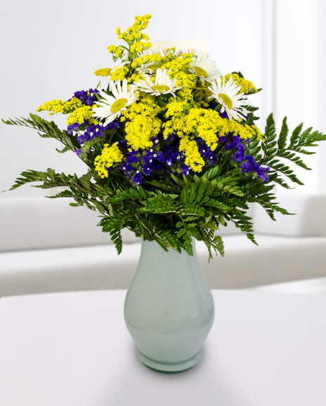 Buchet Solidago, Limonium și flori albe poza 2