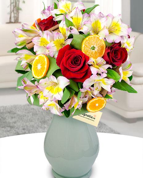 Buchet trandafiri și alstroemeria poza 2