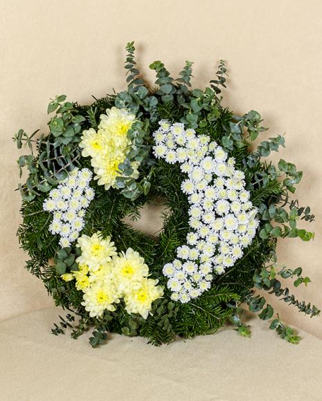 Jerbă funerară crizanteme galbene și albe