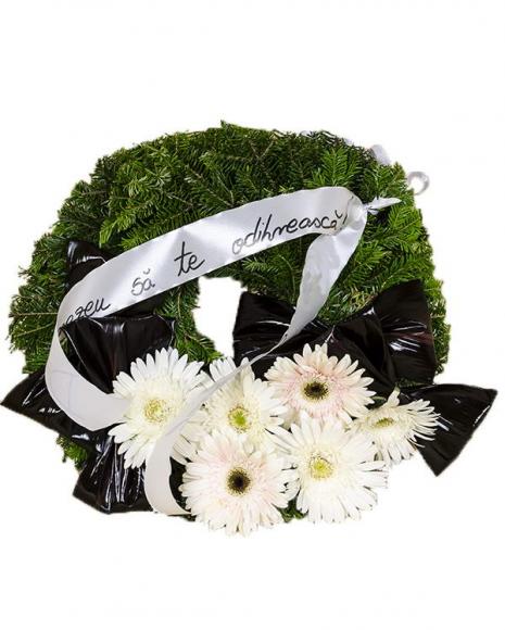 Jerbă funerară gerbera albă și frunze Cordyline